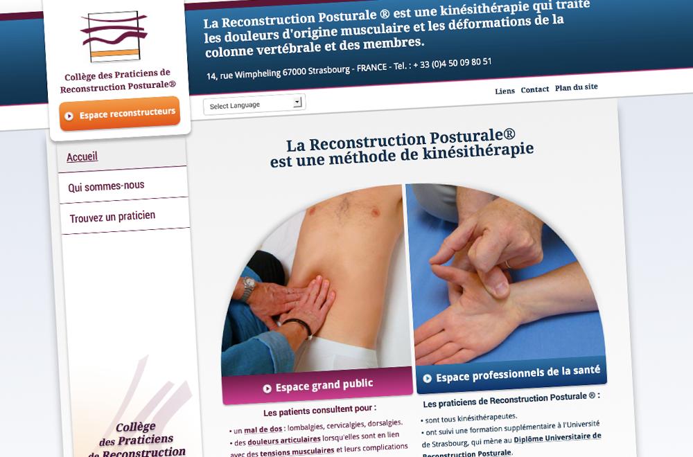 Design graphique du site du collège des praticiens de reconstruction posturale - 2013
