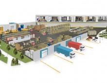 Illustration plan entrepôt et pièces annexes
