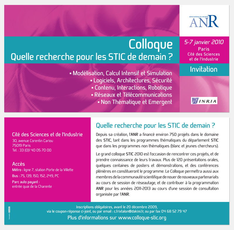Carton invitation - Colloque STIC - ANR