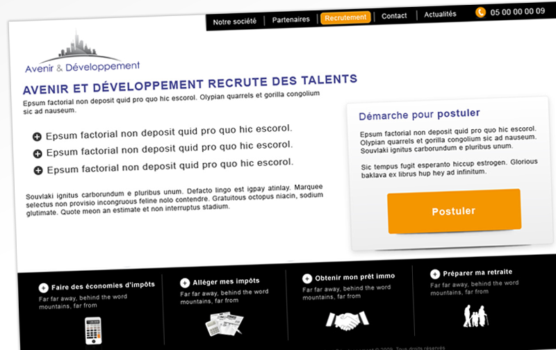 Webdesign - Avenir & dev - Page recrutement