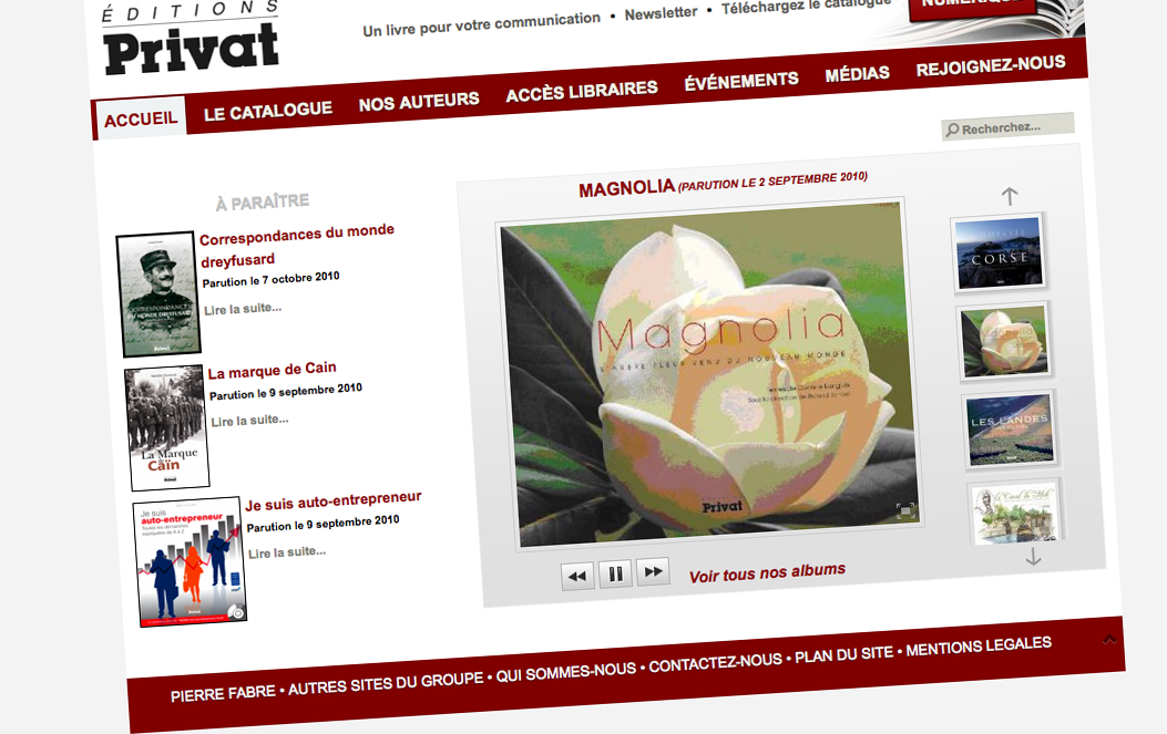 webdesign accueil editions privat - 2010