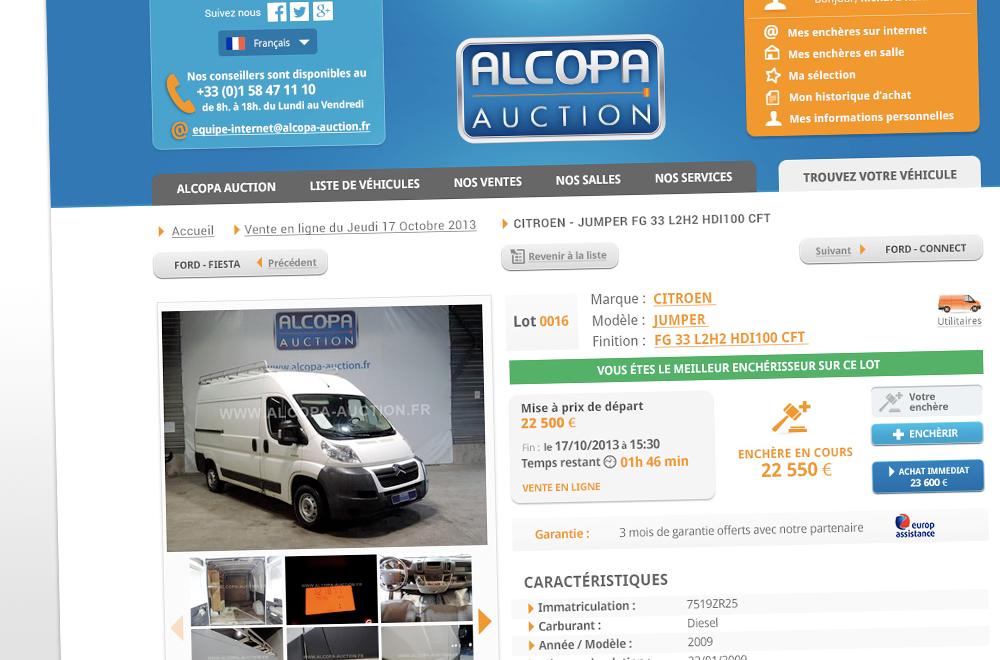 Page produit - site vente au enchères